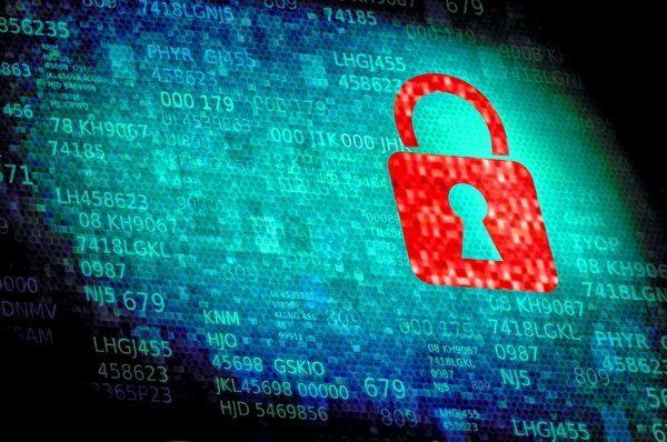 Digital padlock on data screen - Web and data security